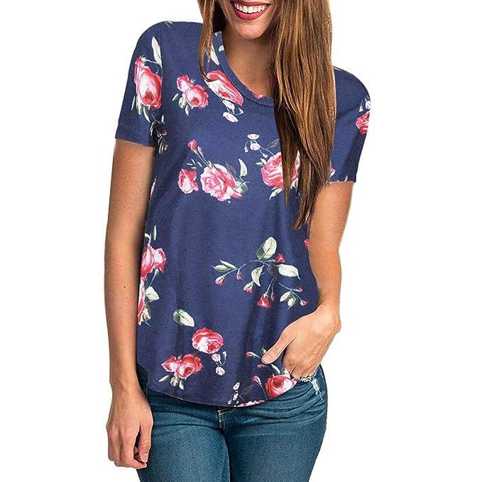 FRAUIT Manga Corta de Verano para Mujer Camiseta con Estampado Floral Blusas Mujer de Camiseta Casuales Camisetas Manga Corta Mujer Blusa de Manga Corta: ...