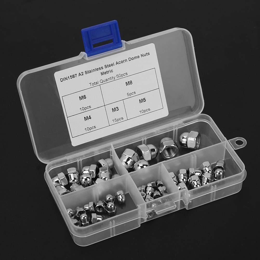 Liukouu 50 St/ücke 1 Box Hutmutter M8 \ M6 \ M5 \ M4 \ M3 Edelstahl Eichelmutter Set