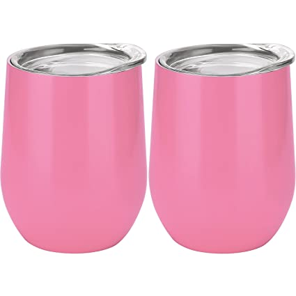 d150a4dd3d8 Amazon.com: Skylety 12 oz Double-insulated Stemless Glass, Stainless Steel  Tumbler Cup with Lids for Wine, Coffee, Drinks, Champagne, Cocktails, ...