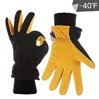 CCBETTER Winterhandschuhe Hirschleder Veloursleder Warm Polar Fleece Kälteschutz Touchscreen Handschuhe für Motorradfahren Snowboard Outdoor Sport