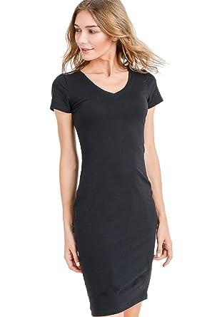 e72c7fa873 LaClef Women's Cap Sleeve V-Neck Bodycon T-Shirt Basic Midi Cotton Dress (