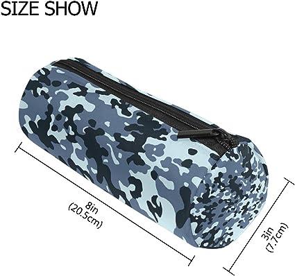 Estuche para bolígrafos de textura de camuflaje militar azul, para niños, para tambor, estuche de gran capacidad, para maquillaje, cosméticos, oficina, bolsa de viaje: Amazon.es: Oficina y papelería