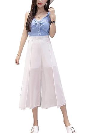 BOLAWOO Pantalon Large Femme Elégante Pantalon Ete Taille Haute Uni Manche  Jupe Pantalon Mode Chic Large bf016dd57c69