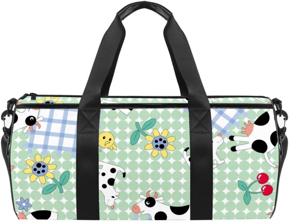 Sport Duffel Bag Cute Cow Sunflower Gym Bag Kids Travel Bag Weekend Bag