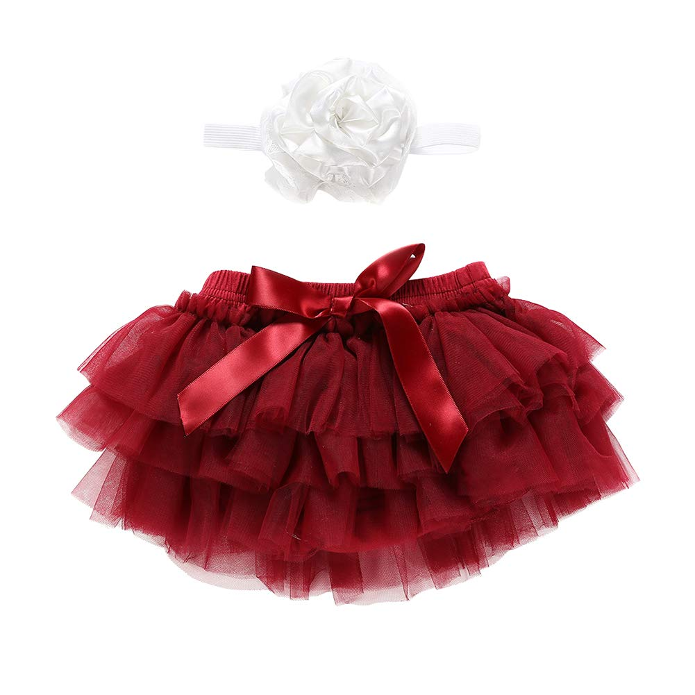 Miwear Infant Baby Girl Ruffle Tulle Tutu Skirt with Flower Headband Outfits Set