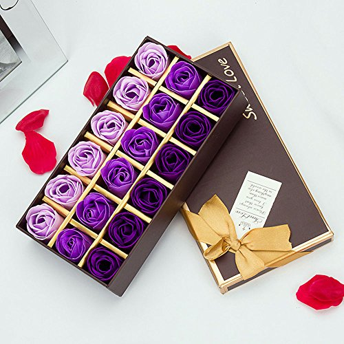 Scented Box (MyLifeUNIT Preserved Rose Scented Bath Soap Rose in Gift Box, 18 PCS (Purple))