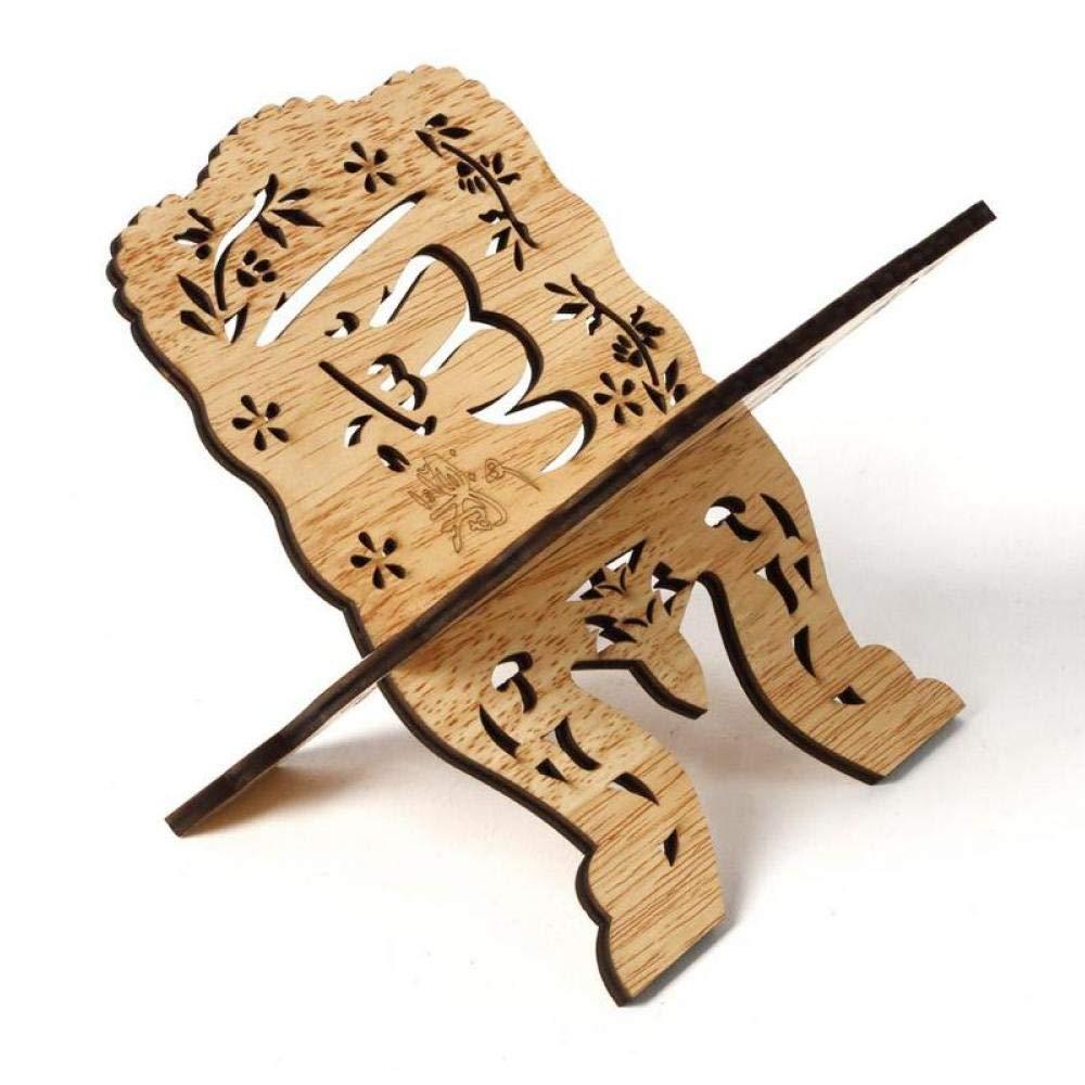 Oulensy 1PC Estante de Libro del Escritorio de Madera Decoraci/ón Islam Biblia Libros de Almacenamiento Estante de exhibici/ón Organizador Eid Mubarak Floral Hueco del Soporte del