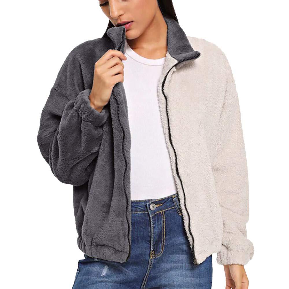 Jackets AfterSo Womens Winter Warm Zipper Artificial Wool Coat Parka Outwear
