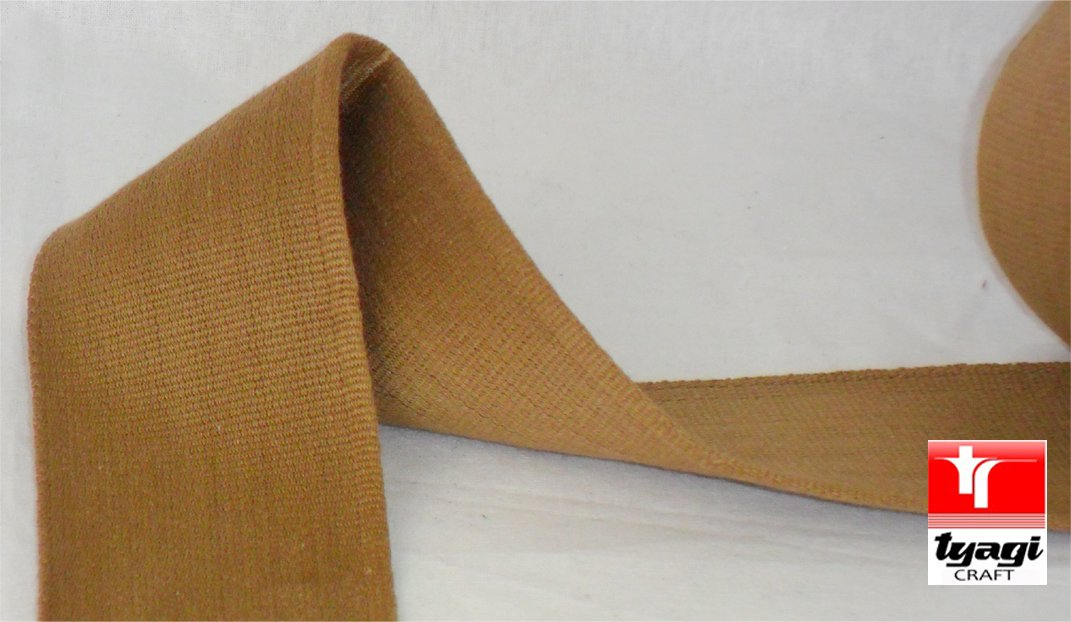 65mm Pure Cotton Thick Tape Thick Webbing Strap Tent Upholestry Bags Sturdy Cotton Straps Harness Craft Brown 2 Meter Tyagi Craft