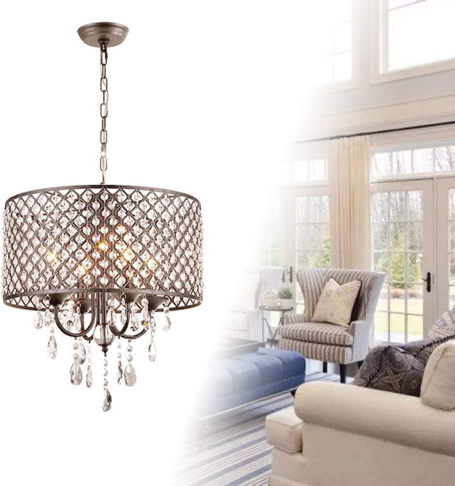 Froadp Crystal Suspension Lamp Abat-jour en Métal Lustres Design Socket E14 Plafond Lumineux sans Ampoule pour étude Salon Salle Manger Chambre Coucher(Cylindrique)