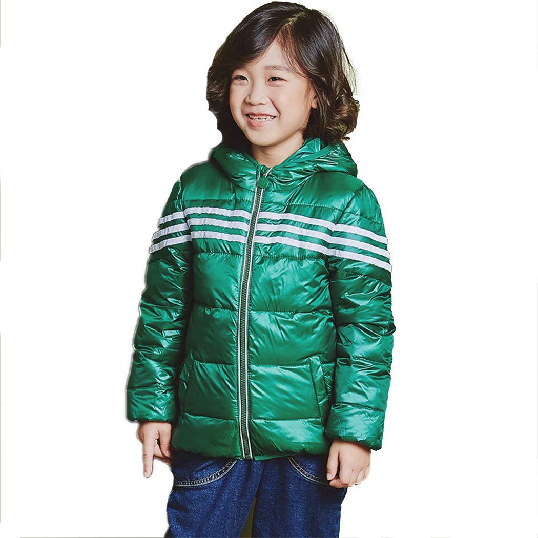 xzbailisha Childrens Warm Striped Lightweight Hooded Down Jacket for Boys and Girls