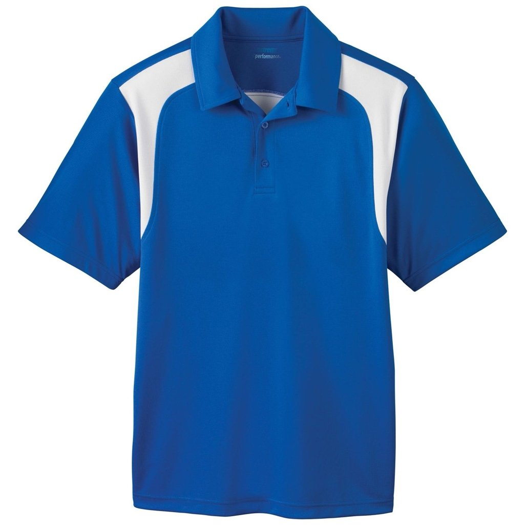 Ash City Mens E Performance Polo Shirt (Small, True Royal/White) by Ash City Apparel