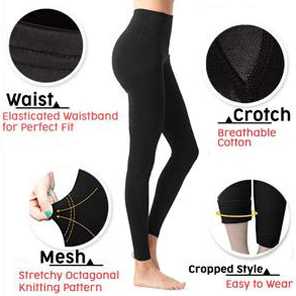 Black Annomor Premium Sculpting Sleep Leg Shaper Pants Legging Socks for Women Girls Body Shaper Knitting Panties L