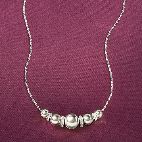 Ross-Simons 6-10mm Sterling Silver Bead Necklace With .20 ct. t.w. Diamonds by Ross-Simons (Image #4)