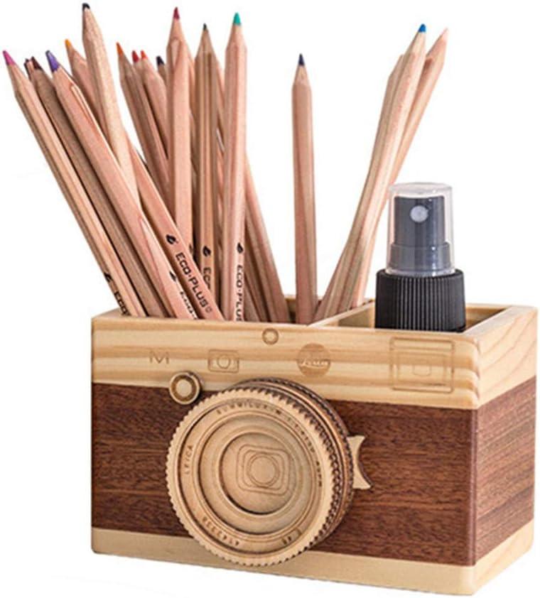 BREIS Vintage Camera Pen Holder,Creative Cute Desk Wooden Pencile Organizer Accessories for Office Home Decoration