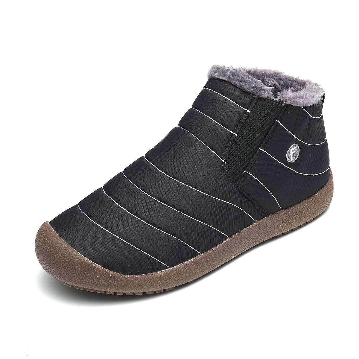gracosy Snow Boots for Men Mens Fur Lined Winter Outdoor Slip On Ankle Snow Booties Low Top Shoes
