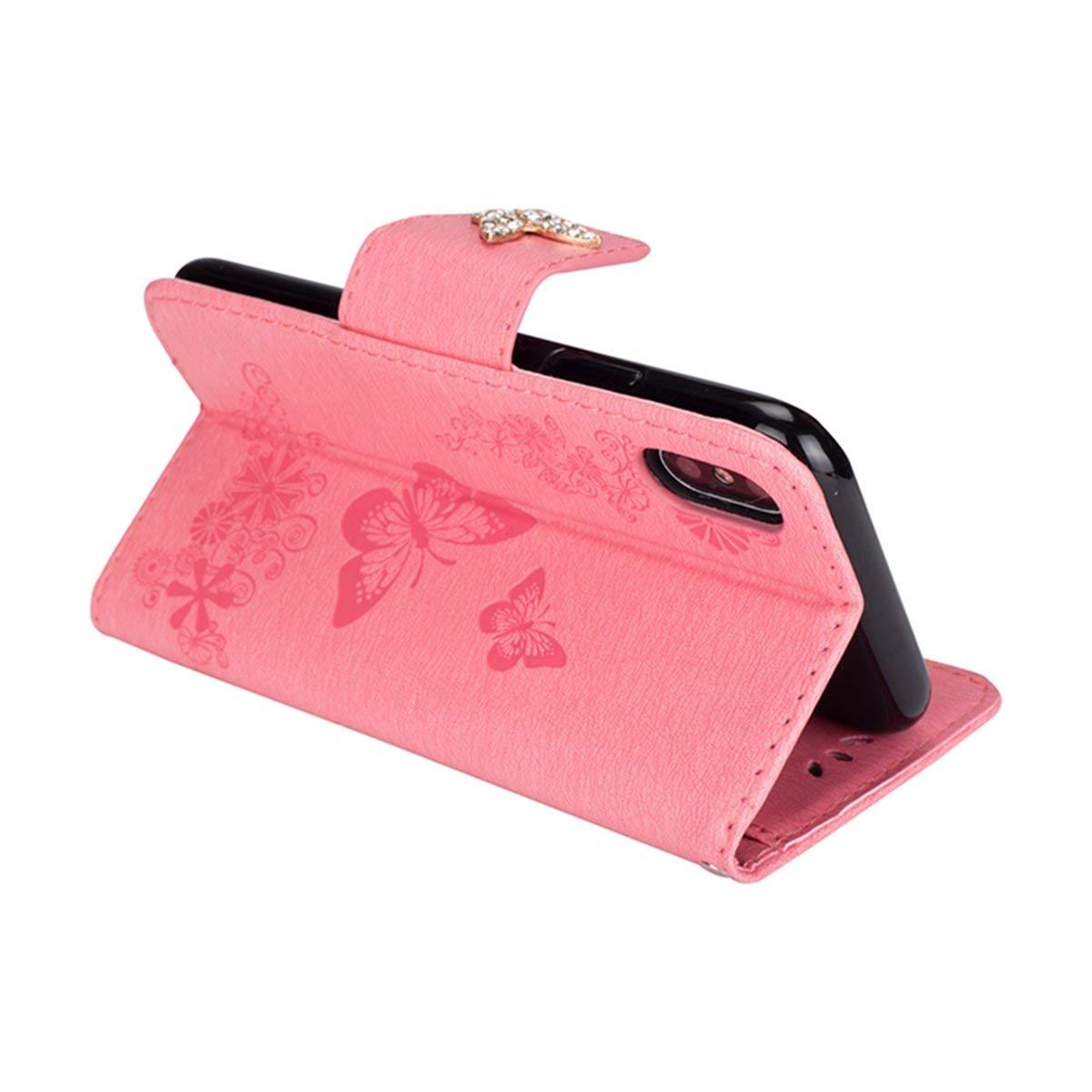 Felfy Compatible avec iPhone XR Coque Portefeuille Luxe Glitter Strass Diamant 3D Papillon Housse /à Rabat PU Cuir /étui de Protection Magn/étique Flip Case Bumper avec Fentes pour Cartes,Noir