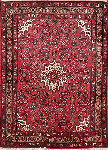 (Geometric One-of-A-Kind Hamedan Persian Area Rug Oriental Hand-Knotted Wool 4X6 )