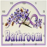 3dRose Florene Vintage Violet Bathroom Sign Wall Clock, 10 by 10-Inch For Sale