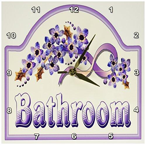 Cheap 3dRose Florene Vintage Violet Bathroom Sign Wall Clock, 10 by 10-Inch