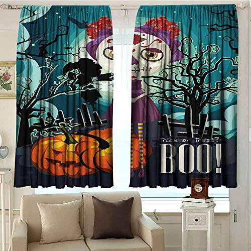 DuckBaby Halloween Half Blackout Curtains Cartoon Girl with Sugar Skull Makeup Retro Seasonal Artwork Swirled Trees Boo Durable W72 xL63 Multicolor -