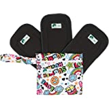 NZ Baby Bamboo Charcoal Cloth Diaper Inserts - 3 Pcs 5-Layer Reusable Machine Washable Liners for Baby Cloth Diapers with 1 Diaper Wet Bag (Pack of 4)