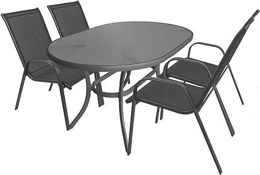 5 piezas. Mobiliario de jardín aluminio cristal Mesa ovalada, 140 x 90 cm + sillas apilables con cordaje Sillas Asiento Grupo Muebles de Jardín Balcón Terraza para muebles: Amazon.es: Jardín