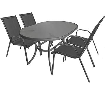 5 piezas. Mobiliario de jardín aluminio cristal Mesa ovalada ...