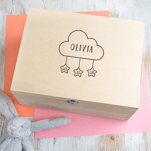 Personalised Baby Gift Wooden Keepsake Box/Memory Box - Girls and ...