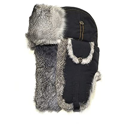 98cfb4a67d9 Mad Bomber Cold Weather Aviator Pilots Bomber Hat Black with Real Grey  Rabbit Fur
