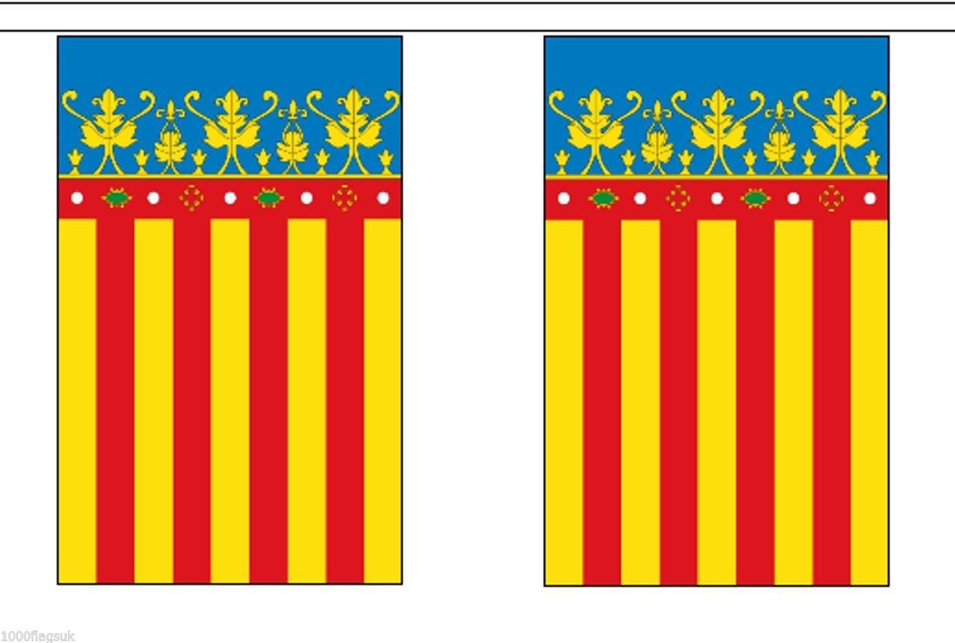 España Valencia Poliéster Bandera Banderín 3m (10) Banderitas Con 10 Banderas: Amazon.es: Hogar