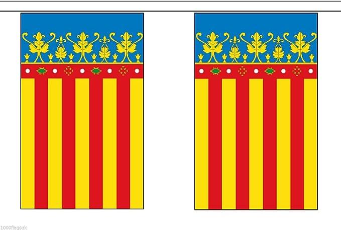 España Valencia Poliéster Bandera Banderín 3m (10) Banderitas Con ...