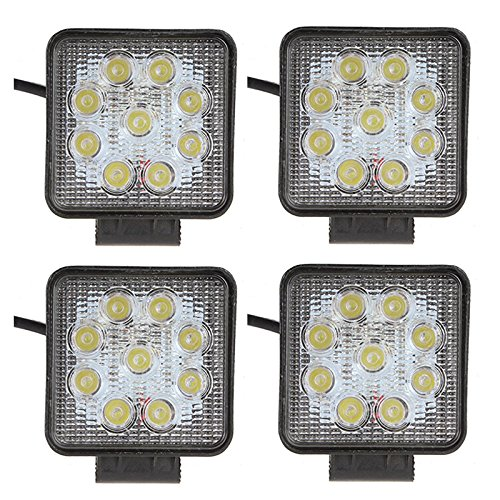 SHANREN Sharp Series 27W Square LED Work Light Lamp Off Road High Power ATV Jeep 4x4 Tractor 30 Degree Spot Light(4 Park)