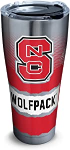 Tervis 1267972 NC State Wolfpack Knockout Stainless Steel Tumbler with Clear and Black Hammer Lid 30oz, Silver