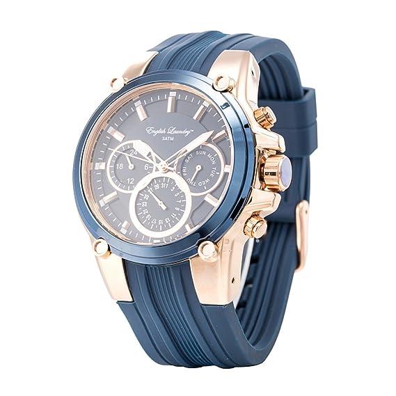 Inglés lavandería Hombres de cuarzo cronógrafo analógico Casual muñeca reloj oro azul, correa de caucho: Amazon.es: Relojes