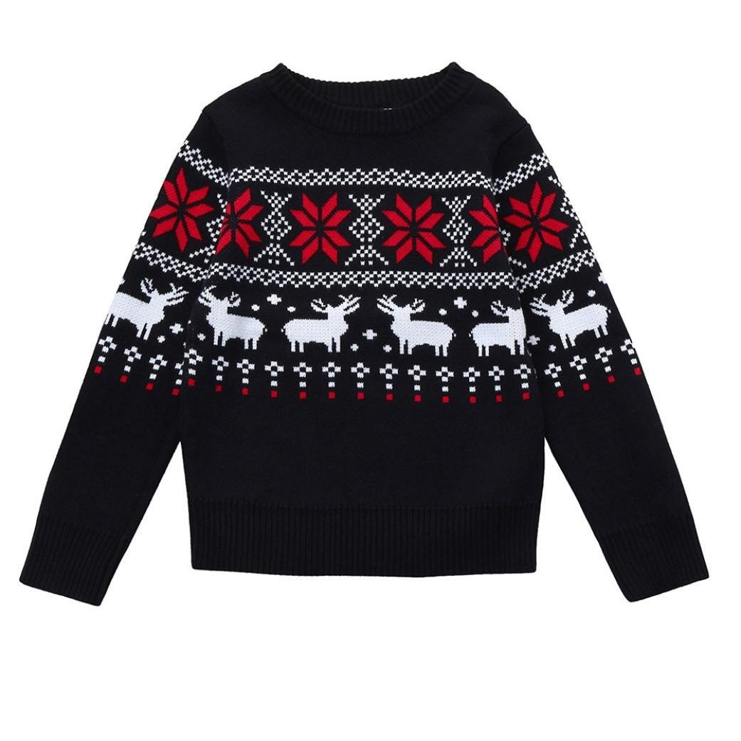 Hirolan Kinder Sweatshirt Kleinkind Jungen Mädchen Kind Baby Schnee Hirsch Drucken Zur Seite Fahren Shirts Stricken Oberbekleidung Unisex Weihnachten Winter Kapuzenpullover Kleider