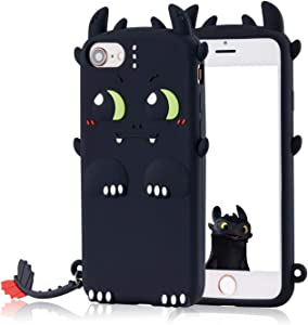 Coralogo Case Compatible for iPod Touch 7/6/5, Cute Animal Cartoon Fashion Character Soft Cover Shockproof Girls Women, Cool Fun Funny Silicone Protective Cases Skin for iTouch 5/6/7 (Black Toothless