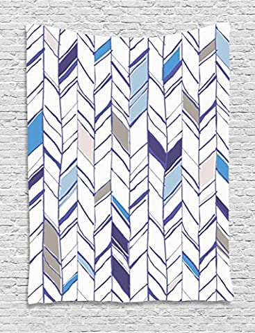 Navy Tapestry by Ambesonne, Tribal Zigzag Lines Pattern in Various Shades Geometric Boho Sketch Print, Wall Hanging for Bedroom Living Room Dorm, 60WX80L Inches, Sky Blue Grey Tan - Mother Of Pearl Wall Art