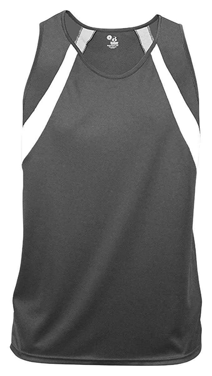 Graphite//White Badger Big Boys Athletic Contrast Front Singlet Tank X-Small