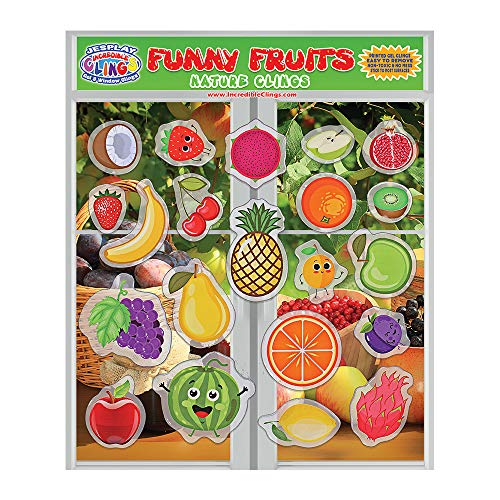 Price comparison product image Fun Fruits Thick Gel Clings – Reusable Removable Window Clings for Kids,  Toddlers and Adults - Incredible Removable Gel Decals of Oranges,  Apples,  Bananas,  Strawberries,  Pineapples,  Watermelons