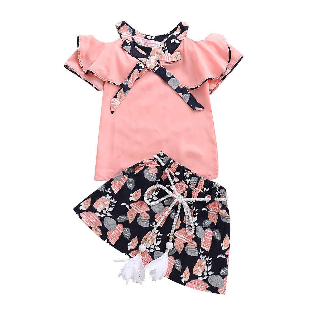Fineser Baby Girls Short Sleeve Harem Bodysuit Letter Romper Jumpsuit Ball Gown Dress Outfits