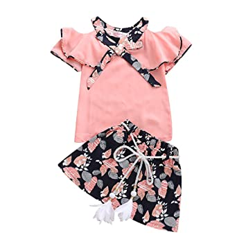 856f9dad3a445 Amazon.com   Girls Short Skirt Sets (2Y-7Y) Short Sleeve Off Shoulder Ruffle  Floral Bowknot Tops Chiffon 2Piece Set Outfits   Baby
