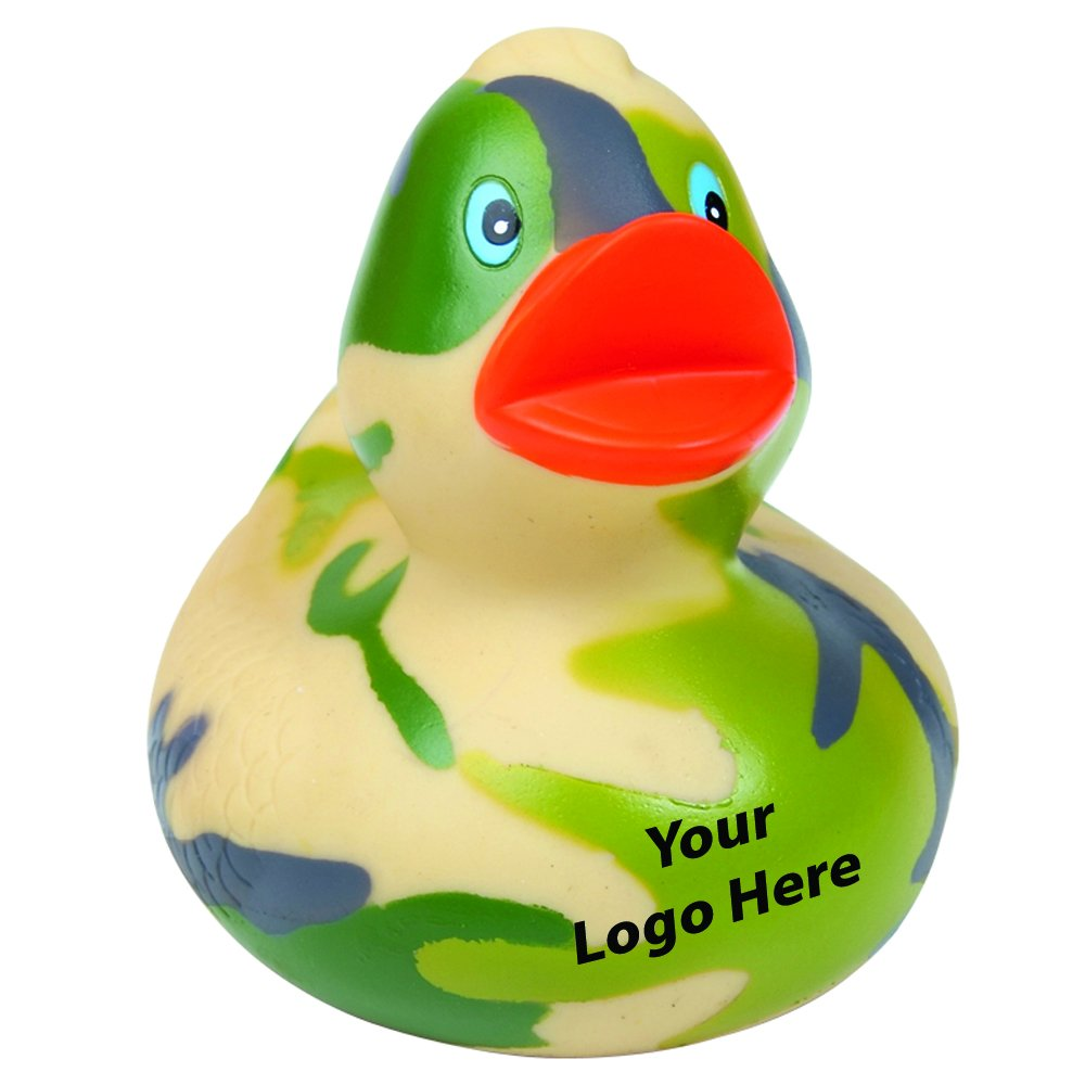 Camouflage Rubber Duck - 100 Quantity - $3.15 Each - PROMOTIONAL PRODUCT / BULK / BRANDED with YOUR LOGO / CUSTOMIZED