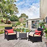 Cloud Mountain Outdoor 3 Piece Patio Bistro Set Wicker Rattan Conversation Set Sectional Patio Furniture Set Two Chairs Glass Coffee Table, Khaki Cushion with Black Rattan