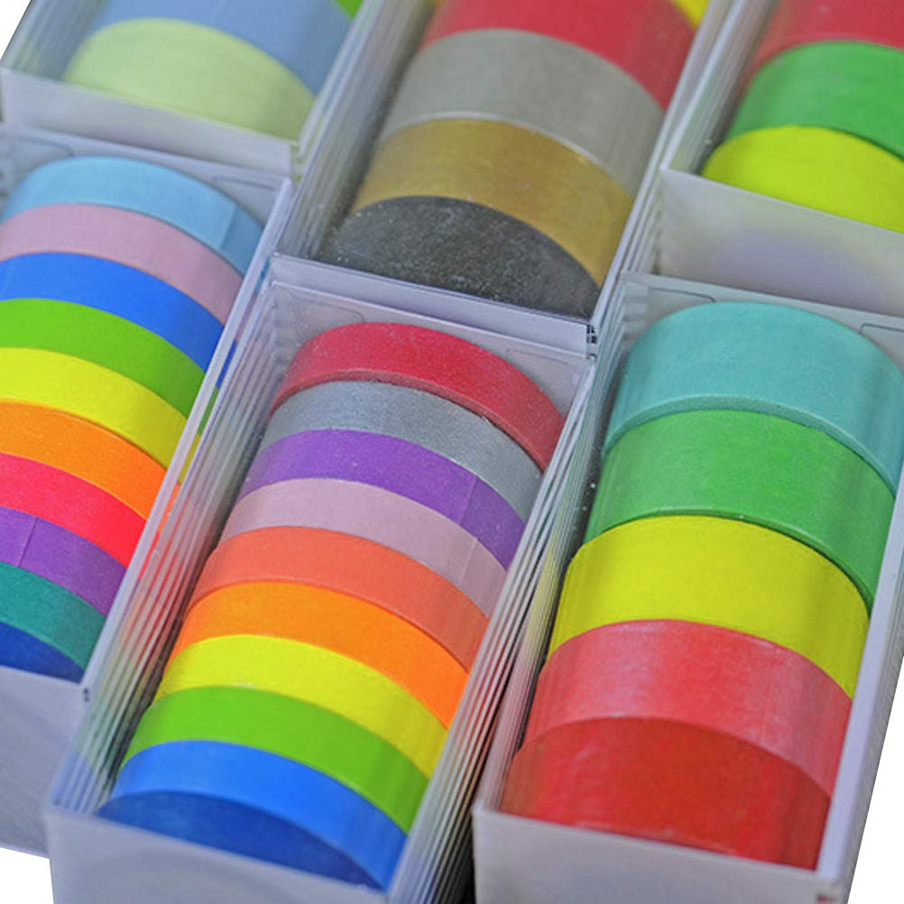 Washi Tape Set,Colorful Decorative Washi Masking Tape,DIY Scrapbooking Craft Gift Wrapping Tapes,Decorative Masking Tape Collection by Bagvhandbagro(Set of 15 Rolls,7.5MM and 15MM Wide)