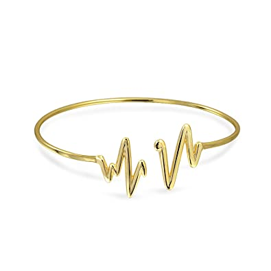 7b081760797 Amazon.com: Modern Zig Zag Heartbeat Bangle Cuff Bracelet For Women ...
