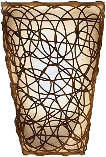 It s Exciting Lighting IEL-2110 Shade with Wicker and Flicker Sconce, Tan Shade With Brown Wicker, Battery Operated, Lightweight And Mobile