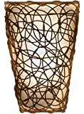It's Exciting Lighting IEL-2110 Shade with Wicker and Flicker Sconce, Tan Shade With Brown Wicker, Battery Operated, Lightweight And Mobile
