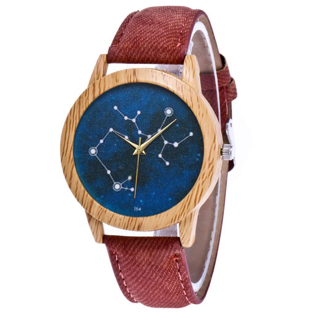 Novelty Watches,Women's Fashion Casual Leather Strap Analog Quartz Round Watch,Coffee