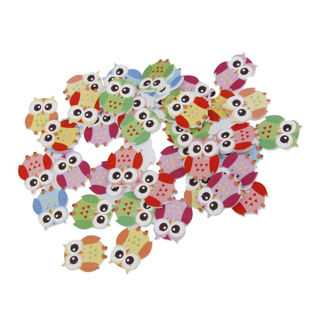 OmkuwlQ Color Random 50pcs Cartoon Wooden Chip Children Kid Clothes Button Decorations Eco-Friendly Ornament by OmkuwlQ (Image #2)